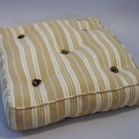 Large Floor Cushion, made with French mattress ticking and backed with army marquee canvas on the underside.